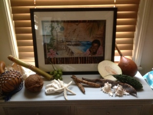 display table with Basil from Mustique